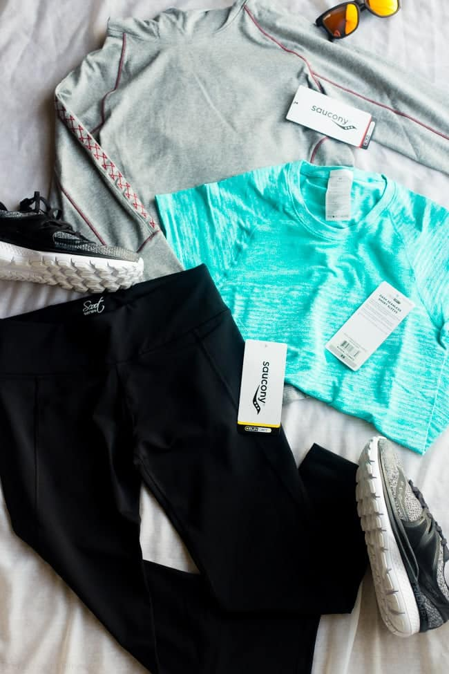 The Saucony RunBox - A great way to get all your running gear from the comfort of your own home! | Foodfaithfitness.com | @FoodFaithFit