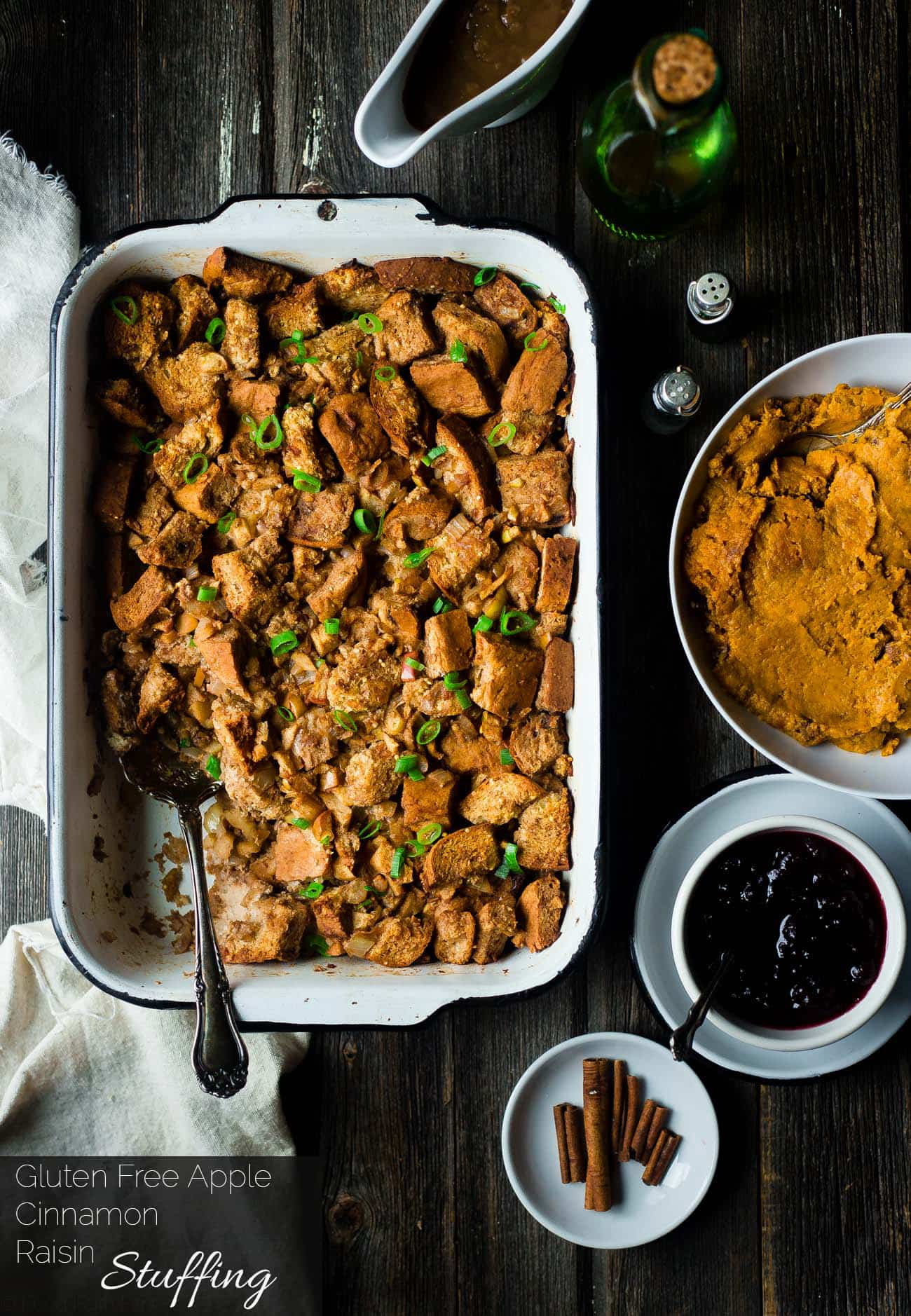 Gluten Free Apple Raisin Stuffing - This easy, gluten free stuffing is made from a mixture of bread and cinnamon raisin bagels! It's the perfect simple, healthy Thanksgiving side dish that everyone will love! | Foodfaithfitness.com | @FoodFaithFit