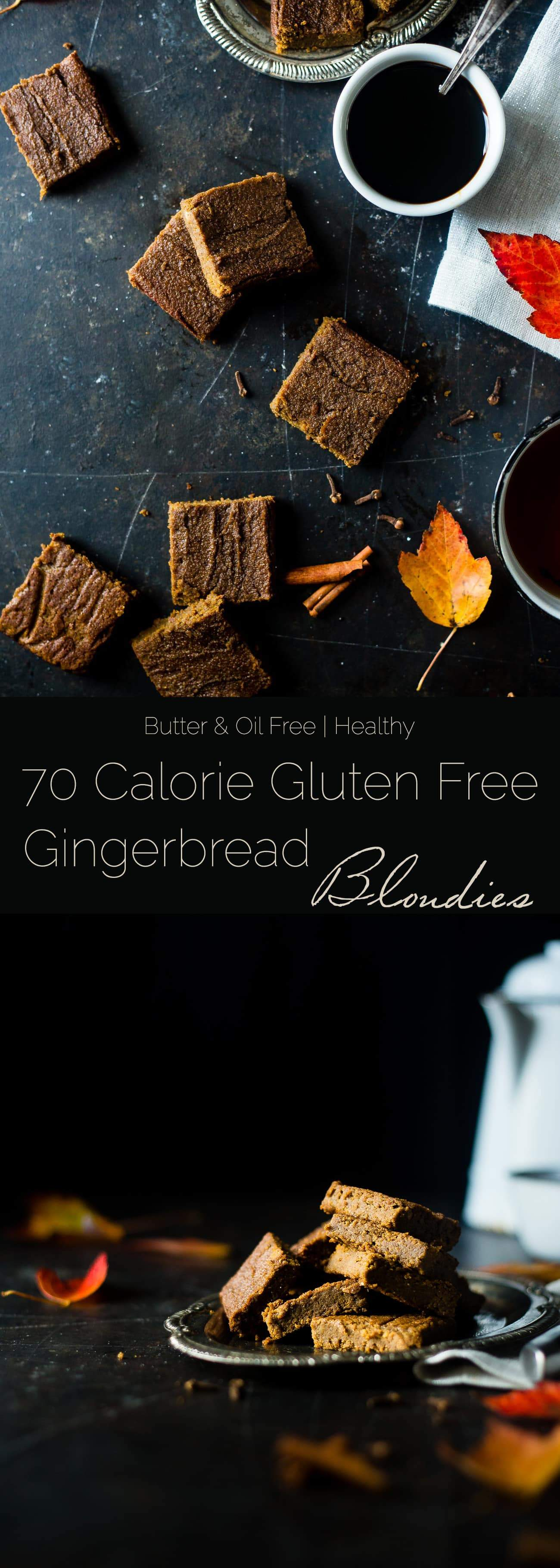 Healthy Gingerbread Blondies - These protein-packed blondies are butter/oil free, gluten free and only 70 calories! A secret ingredient keeps them SO dense and chewy. Perfect for Christmas and the Holidays! | Foodfaithfitness.com | @FoodFaithFit
