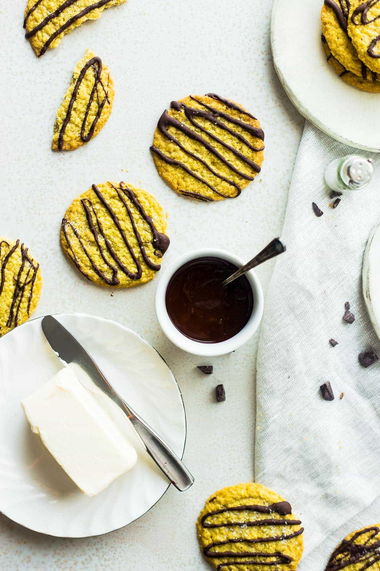 Gluten Free Salted Chocolate Pistachio Whipped Shortbread Cookies - These 5 ingredient, low carb and gluten free shortbread cookies are salty-sweet and melt in your mouth! The perfect, healthy Christmas cookie! | Foodfaithfitness.com | @FoodFaithFit