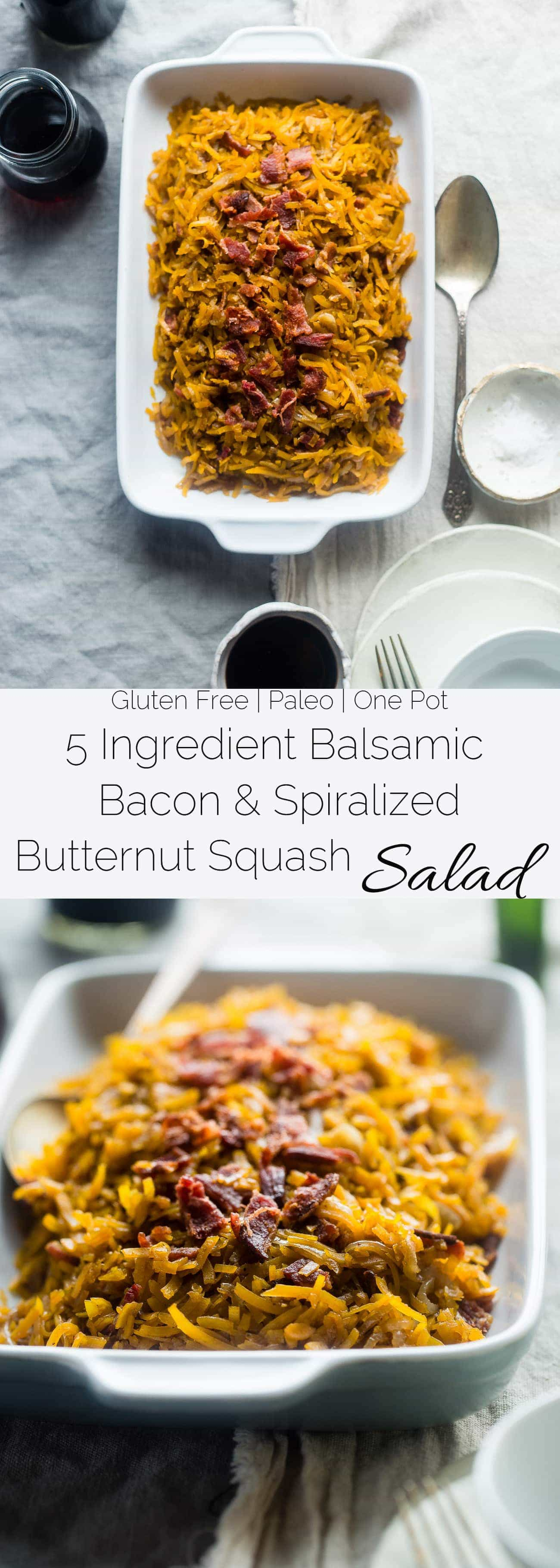 5 Ingredient Bacon Balsamic Butternut Squash Salad - This spiralized butternut squash salad features crispy bacon and a sweet and tangy maple glaze! It's a healthy, paleo friendly side dish with only 5 ingredients! | Foodfaithfitness.com | @FoodFaithFit