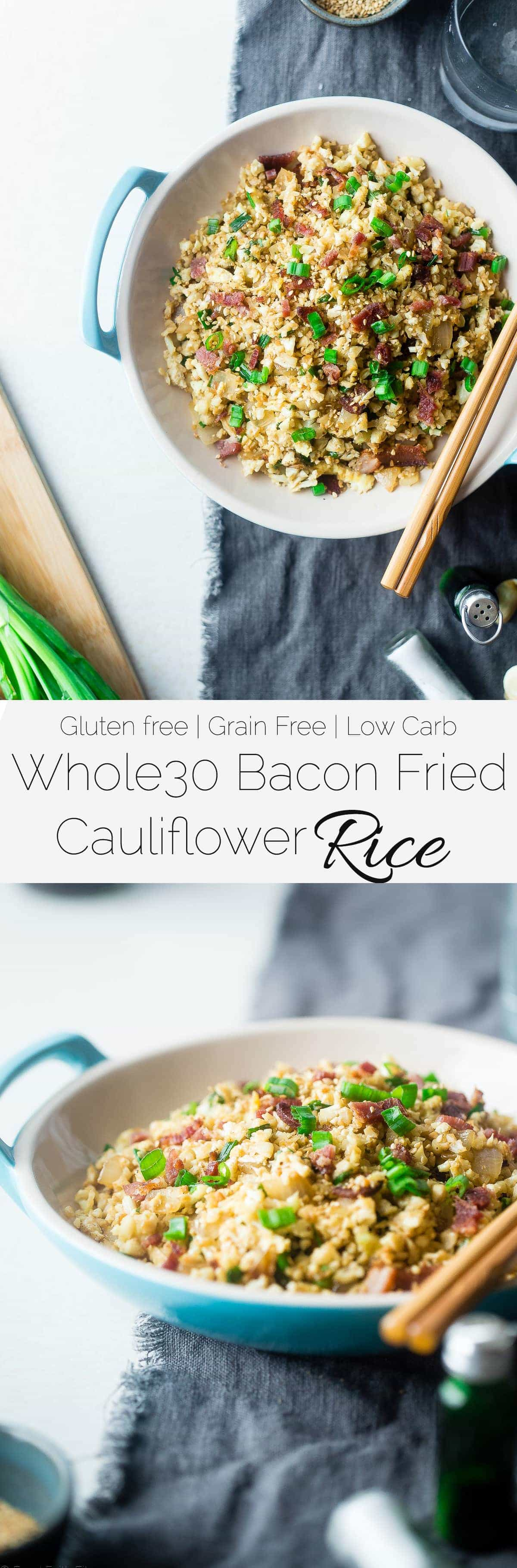 Whole30 Bacon Cauliflower Fried Rice - This lower carb, healthy cauliflower fried rice uses bacon instead of chicken to make it extra delicious! It's an easy, family-friendly weeknight meal for under 250 calories! | Foodfaithfitness.com | @FoodFaithFit