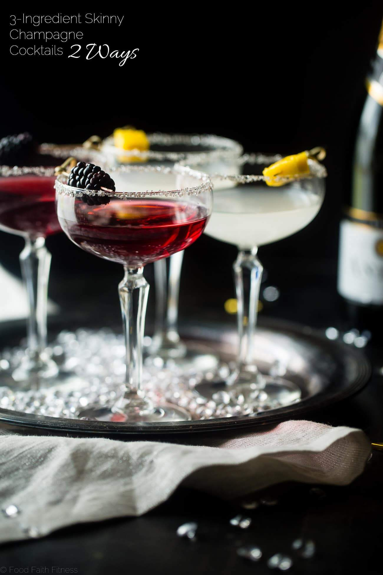 3 Ingredient Skinny Champagne Cocktails - Both of these blackberry raspberry and mango coconut sparkling champagne cocktails are under 150 calories and are naturally sweetened! Perfect for a healthy NYE! | Foodfaithfitness.com | @FoodFaithFit