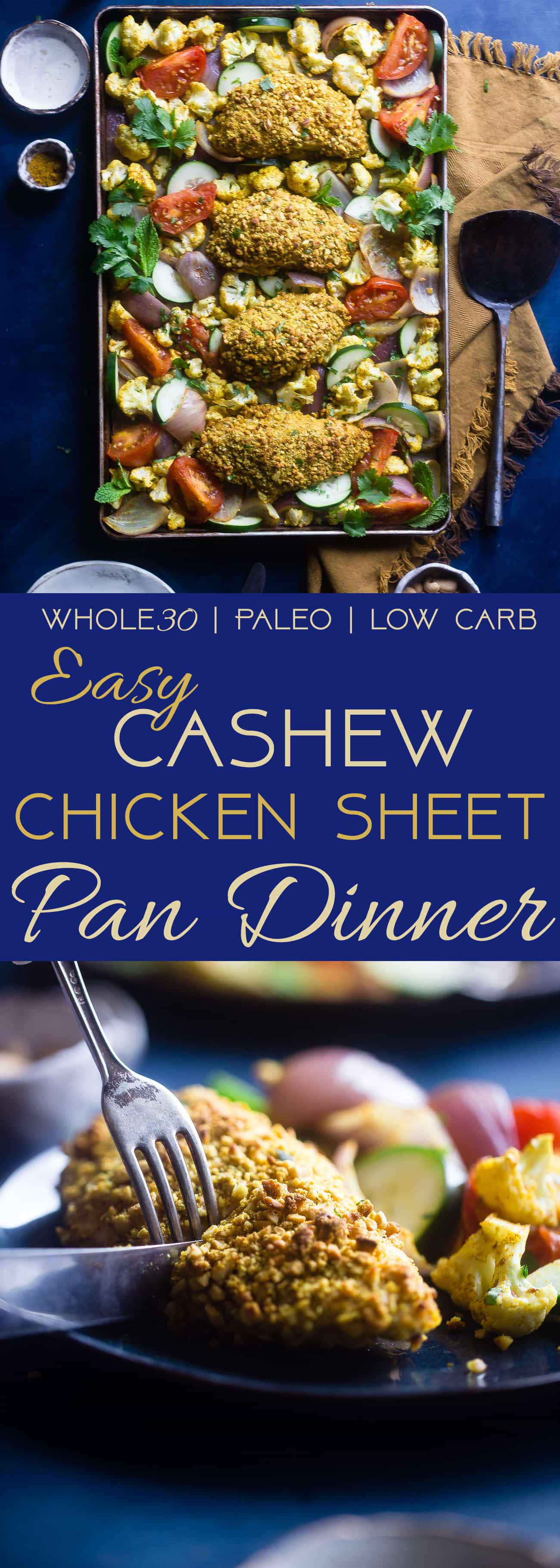 Whole30 Healthy Cashew Chicken Sheet Pan Dinner - This low carb cashew chicken is flavored with curry, and the whole meal is made on one sheet! It's an easy, healthy weeknight meal the whole will love, for under 400 calories! | Foodfaithfitness.com | @FoodFaithFit | easy cashew chicken. keto cashew chicken. sheet pan cashew chicken. best cashew chicken. curry cashew chicken. gluten free cashew chicken. skinny cashew chicken. chicken sheet pan dinner. easy meals. whole30 sheet pan dinner. sheet pan dinner recipes
