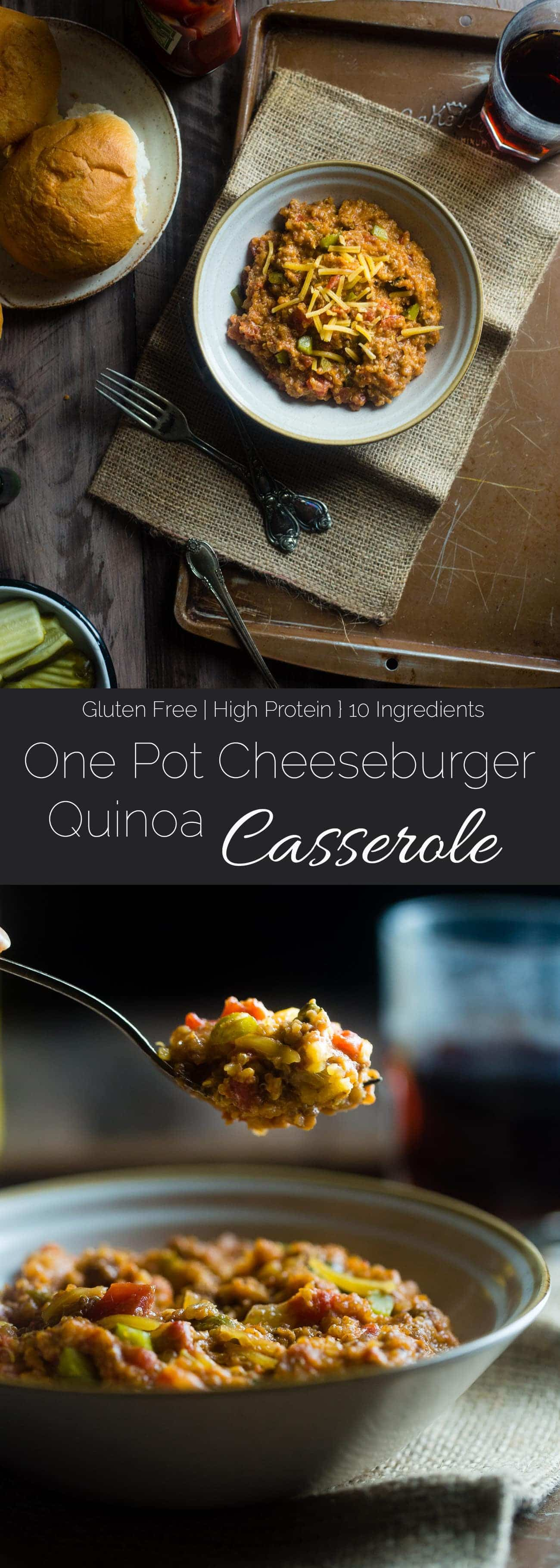 Cheeseburger Quinoa Casserole - This easy, one-pot cheeseburger casserole has all the cheeseburger taste you love but in healthy, gluten free weeknight dinner form! It's under 300 calories too! | Foodfaithfitness.com | @FoodFaithFit