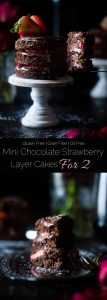 Mini Strawberry Chocolate Cakes For Two - This mini strawberry gluten free chocolate cake recipe makes 2 mini cakes, so it's perfect for two people! A healthier, grain free dessert for Valentine's Day! | Foodfaithfitness.com | @FoodFaithFit