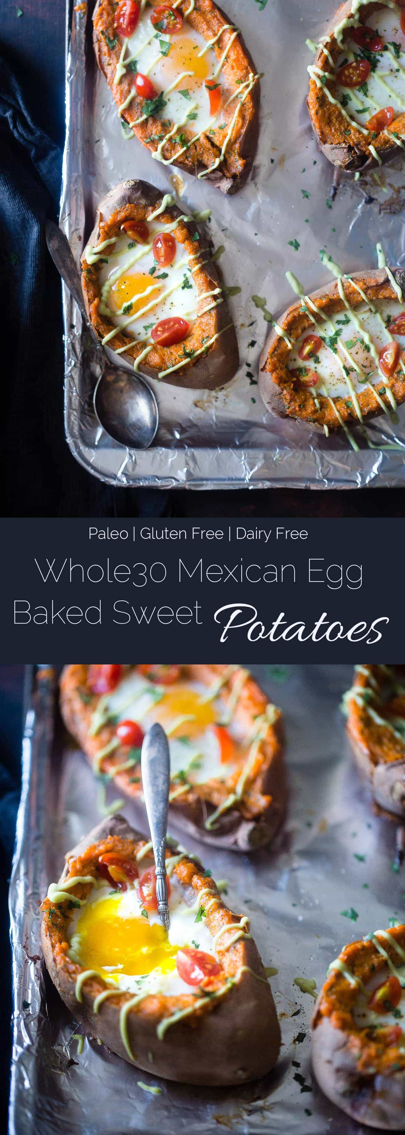 Mexican Stuffed Sweet Potatoes - These Mexican sweet potatoes have a runny egg and a tangy lime avocado sauce! They're a healthy, gluten free and whole30 friendly weeknight meal! | Foodfaithfitness.com | @FoodFaithFit