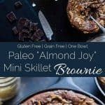 """Gluten Free """"Almond Joy"""" Skillet Brownies - These rich, fudgy coconut almond skillet brownies are made in one bowl! They're a paleo friendly, healthier dessert that everyone will love! 