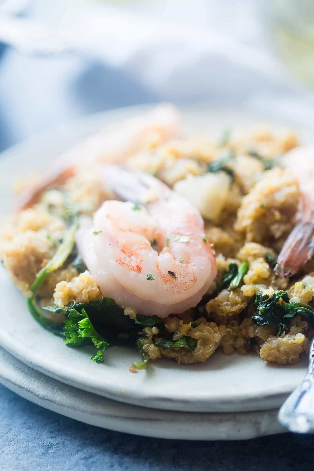Slow Cooker Garlic Butter Shrimp and Quinoa - This easy, 7 ingredient weeknight dinner is made in the slow cooker! It's a healthy, sugar free and protein packed meal that the whole family will love! | Foodfaithfitness.com | @FoodFaithFit