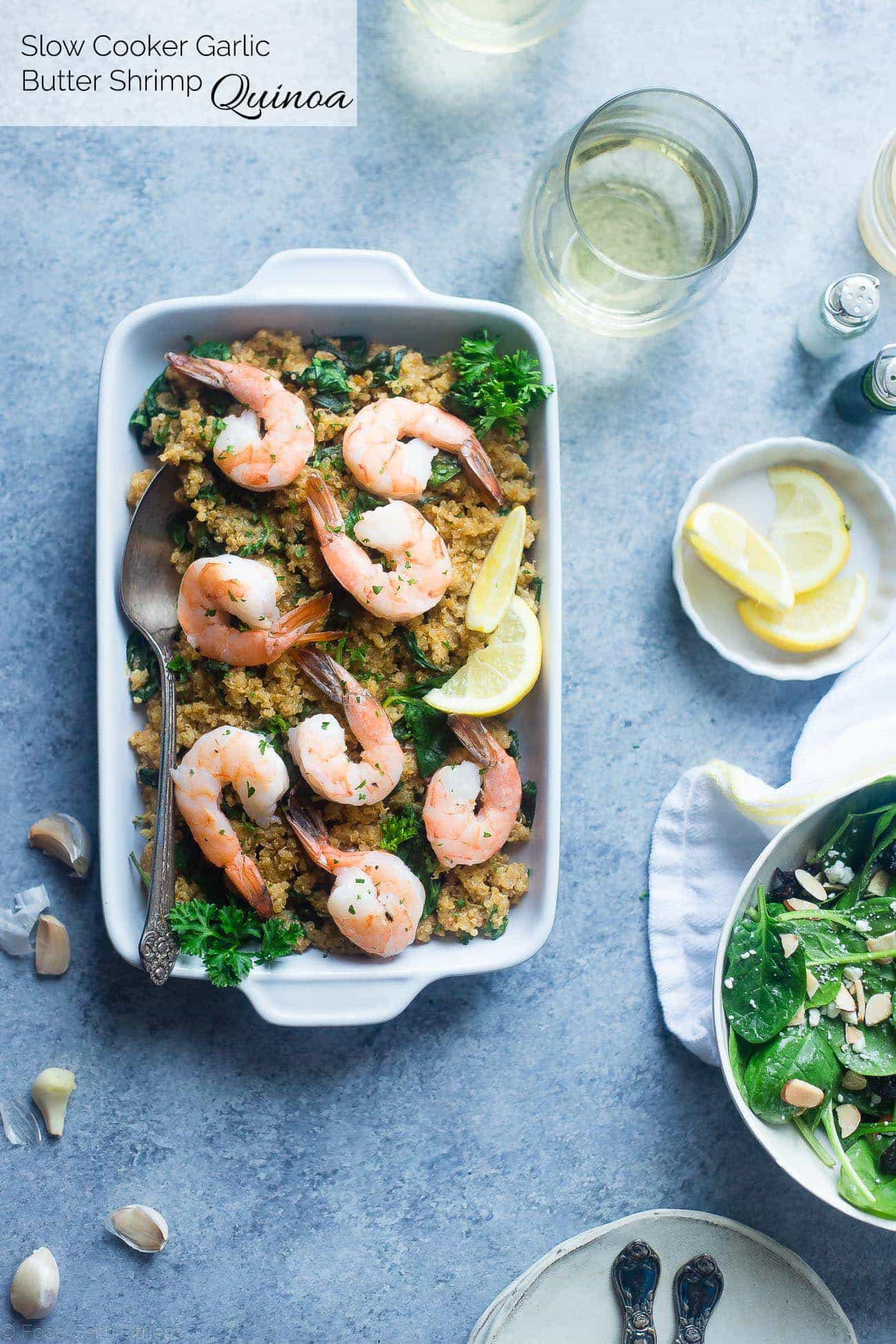 Slow Cooker Garlic Butter Shrimp and Quinoa - This easy, 7 ingredient weeknight dinner is made in the slow cooker! It's a healthy, gluten and lactose free meal that the whole family will love! | Foodfaithfitness.com | @FoodFaithFit