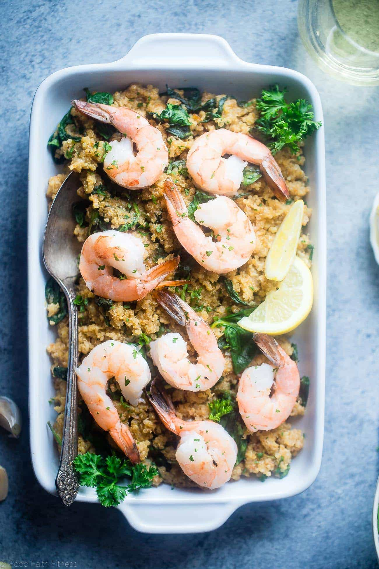 Slow Cooker Garlic Butter Shrimp and Quinoa - This easy, 7 ingredient weeknight dinner is made in the slow cooker! It's a healthy, gluten free meal that the whole family will love! | Foodfaithfitness.com | @FoodFaithFit