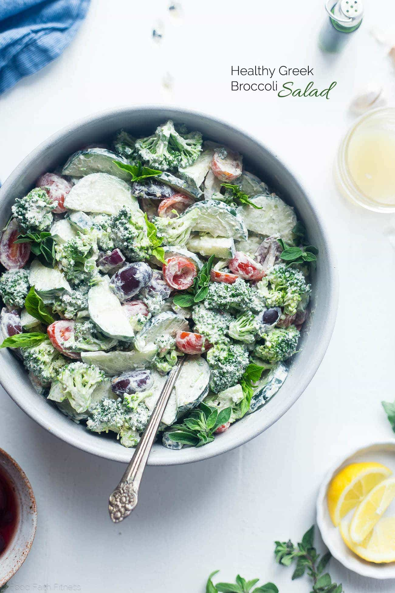 Greek Healthy Broccoli Salad - This low carb, raw broccoli salad is so creamy you'll never know it's vegan, paleo and whole30 compliant! It's an easy side dish that's perfect for spring potlucks! | Foodfaithfitness.com | @FoodFaithFit