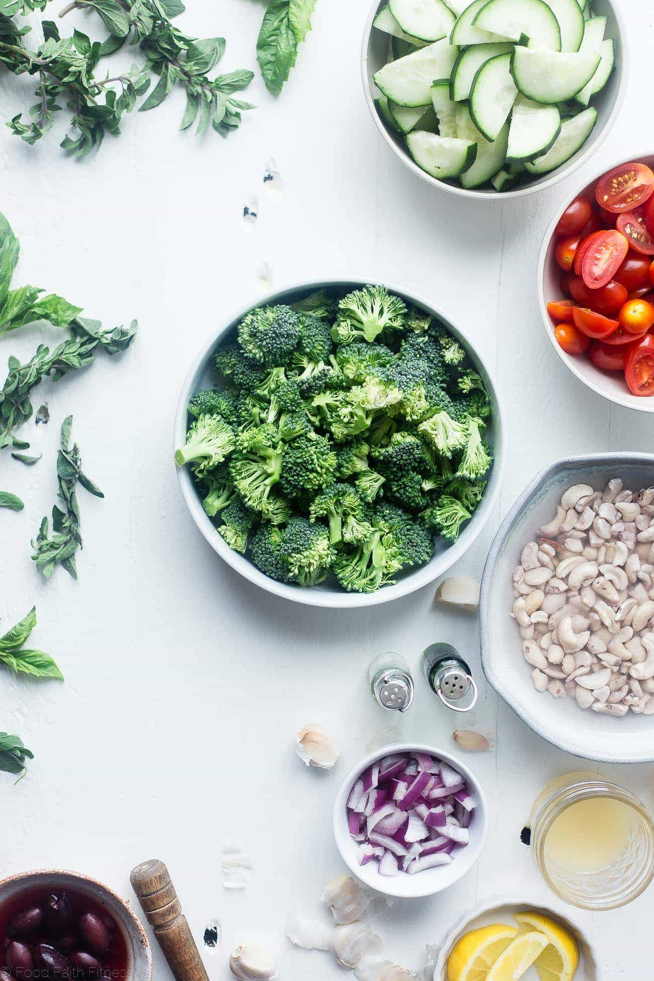 Greek Vegan Broccoli Salad - This low carb, raw broccoli salad is so creamy you'll never know it's vegan, paleo and whole30 compliant! It's an easy side dish that's perfect for spring potlucks! | Foodfaithfitness.com | @FoodFaithFit