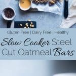 Slow Cooker Steel Cut Oats Energy Bars - These gluten free peanut butter banana energy bars are made in the slow cooker! They're an easy, healthy portable breakfast or snack! Kid friendly too! | Foodfaithfitness.com | @FoodFaithFit