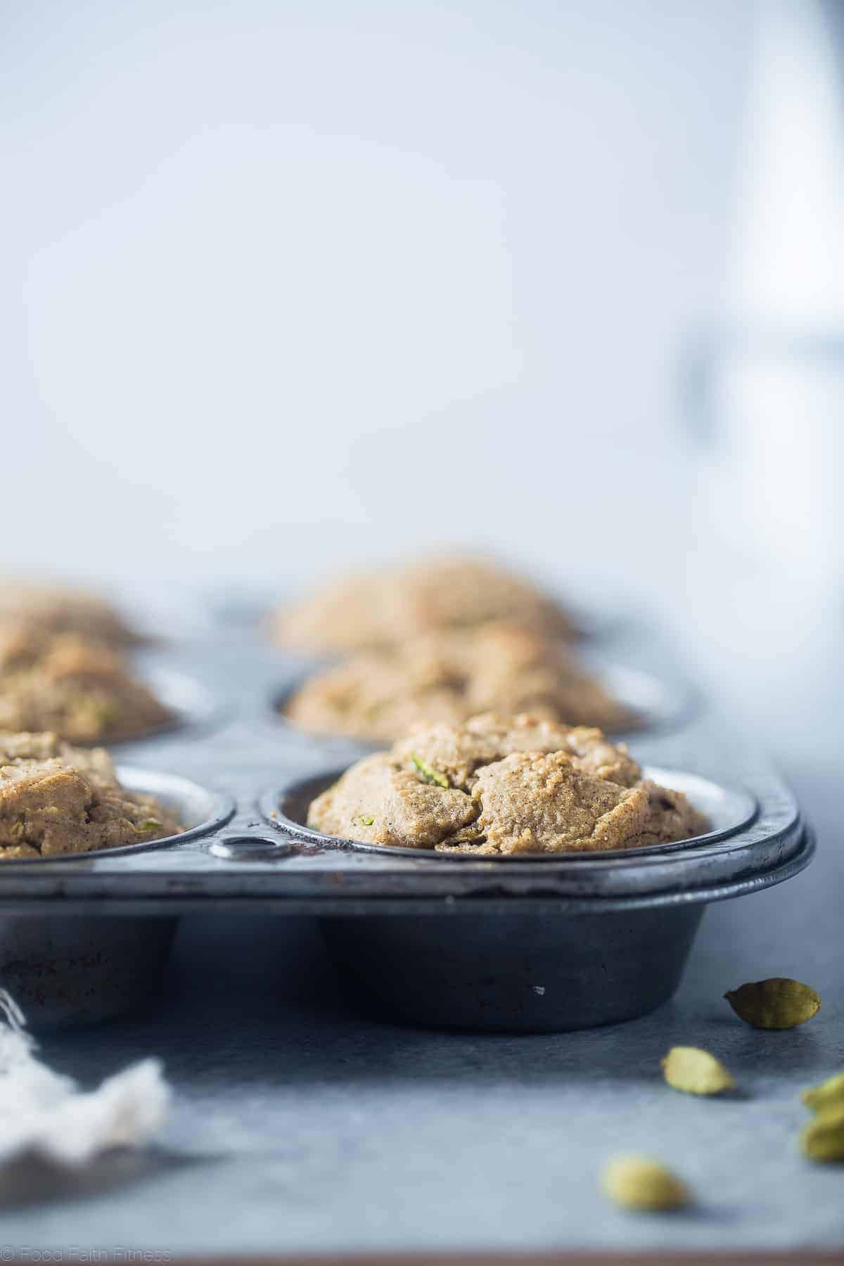 keto zucchini muffins in baking tin on a table