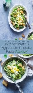 Avocado Pesto Zucchini Noodle Pasta Salad - This gluten free, healthy pasta salad uses zucchini noodles and has crunchy croutons and creamy avocado pesto! It's a low carb, easy spring side dish that's perfect for Easter! | Foodfaithfitness.com | @FoodFaithFit