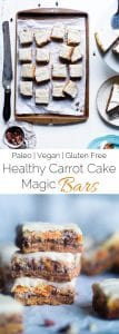 Carrot Cake Paleo Magic Cookie Bars - These easy paleo and vegan magic cookie bars taste like the carrot cake except in gluten, grain and dairy free form - complete with frosting! A healthy dessert for Easter! | Foodfaithfitness.com | @FoodFaithFit