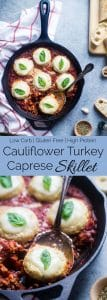 Cauliflower Caprese Skillet - These gluten free skillet has all the Italian flavors of the classic salad, in a light, healthy and low carb dinner that everyone will love! | Foodfaithfitness.com | @FoodFaithFit