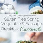 Gluten Free Spring Veggie Sausage Breakfast Casserole - This easy, overnight gluten free breakfast casserole is loaded with seasonal veggies and is only 175 calories! Perfect for Easter or spring brunches! | Foodfaithfitness.com | @FoodFaithFit