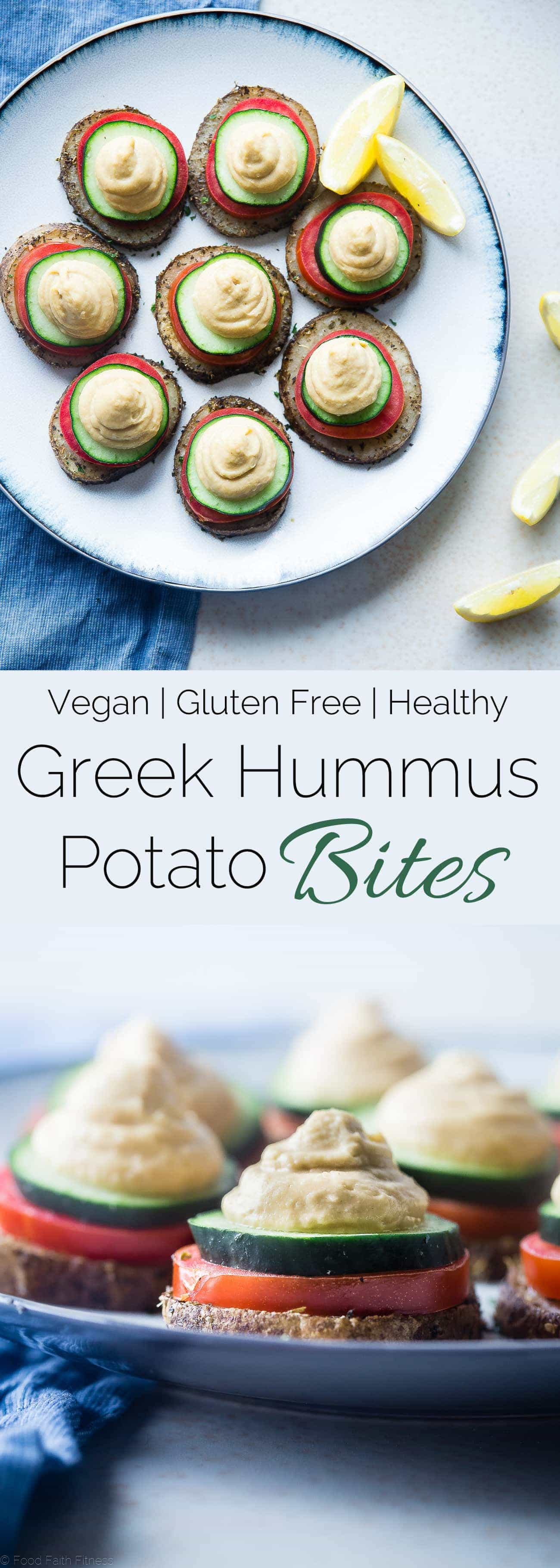 Vegan Hummus Greek Potato Bites - These healthy, vegan Greek potato bites are the perfect party food or snack! They taste like Greek salad and are gluten and dairy free! | Foodfaithfitness.com | @FoodFaithFit