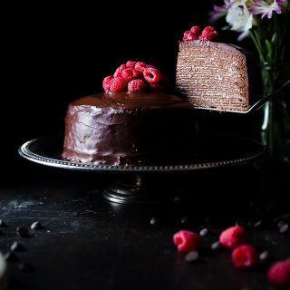 Raspberry Chocolate Vegan Crepe Cake -