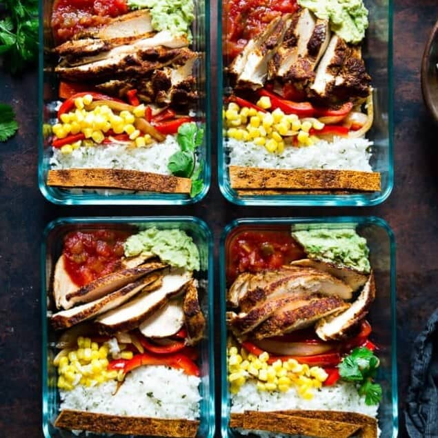 Meal Prep Chicken Burrito Bowls - This healthy, gluten free chicken burrito bowl recipe can be made ahead of time, so it's ready to go for busy days. It's an easy, dairy-free delicious desk lunch option!   Foodfaithfitness.com   @FoodFaithFit