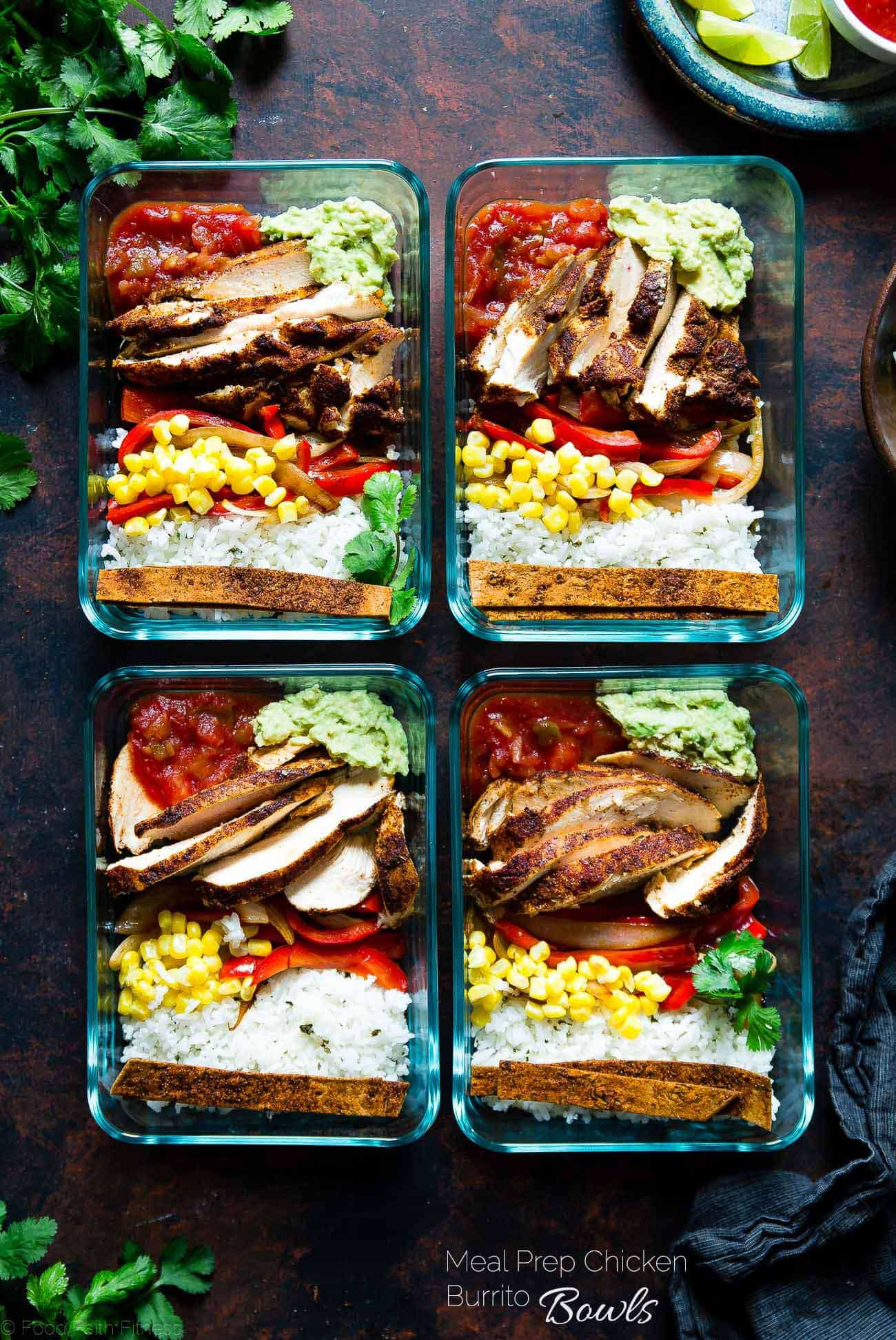 Meal Prep Chicken Burrito Bowls - This healthy, gluten free chicken burrito bowl recipe can be made ahead of time, so it's ready to go for busy days. It's an easy, dairy-free delicious desk lunch option! | Foodfaithfitness.com | @FoodFaithFit