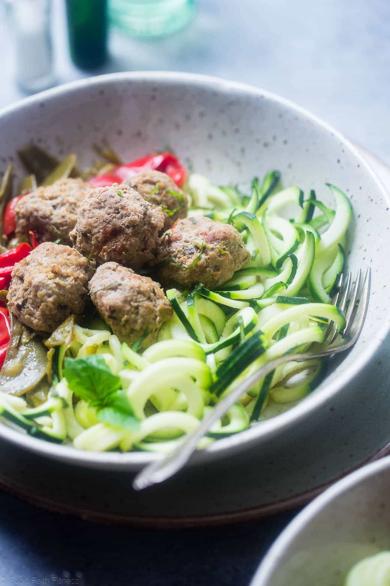 Whole30 Instant Pot Meatballs Primavera - These paleo chicken meatballs taste like pasta primavera! They're a healthy, gluten free and paleo spring meal for only 300 calories!   Foodfaithfitness.com   @FoodFaithFit