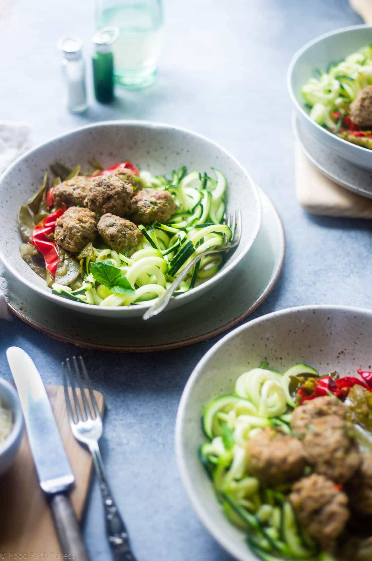 Whole30 Instant Pot Meatballs Primavera - These easy paleo Italian meatballs taste like pasta primavera! They're a healthy, gluten free and paleo spring meal for only 300 calories!   Foodfaithfitness.com   @FoodFaithFit