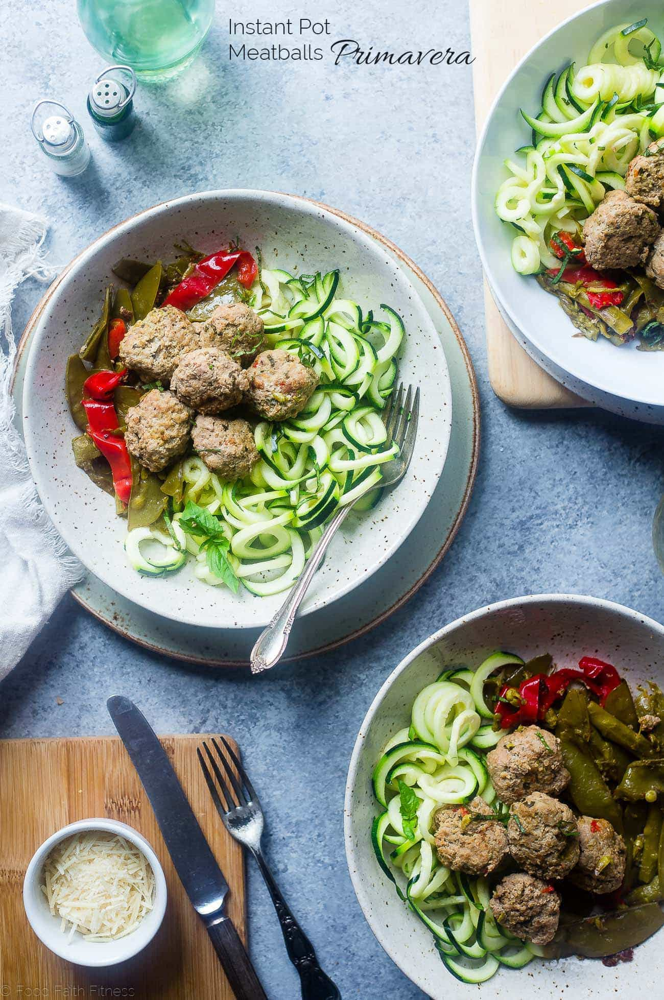 Whole30 Instant Pot Meatballs Primavera - These low carb instant pot meatballs taste like pasta primavera! They're a healthy, gluten free and paleo spring meal for only 300 calories!   Foodfaithfitness.com   @FoodFaithFit