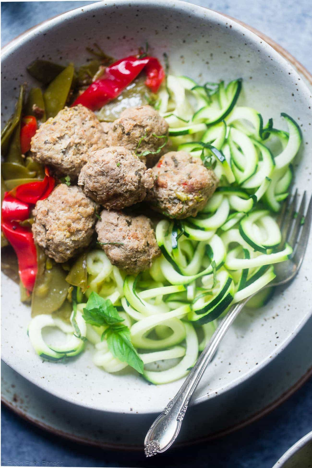 Easy Paleo Italian Meatballs in the Instant Pot - This low carb paleo meatball recipe tastes like pasta primavera! They're a healthy, gluten free and paleo spring meal for only 300 calories!   Foodfaithfitness.com   @FoodFaithFit