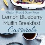 Gluten Free Lemon Blueberry Muffin Breakfast Casserole - This muffin gluten free breakfast casserole is a creative way to use your muffins, and is only 5 ingredients and 200 calories! Perfect for spring brunch or Mother's Day!   Foodfaithfitness.com   @FoodFaithFit