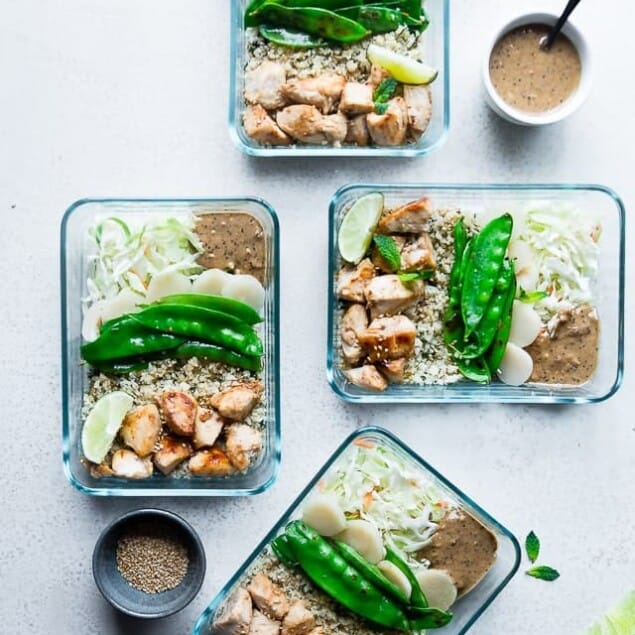 Chicken Satay Meal Prep Bowls - These meal prep bowls are a healthy, gluten free make-ahead meal that's perfect for work days! They're protein packed and lower carb to keep you full! | Foodfaithfitness.com | @FoodFaithFit