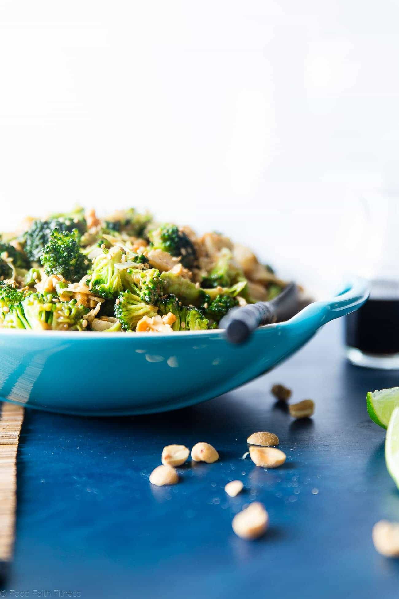 Asian Healthy Broccoli Salad - This crowd-pleasing healthy broccoli salad is a no-cook side dish, loaded with creamy peanut sauce! It's quick and easy, gluten free and vegan with a paleo option! | Foodfaithfitness.com | @FoodFaithFit
