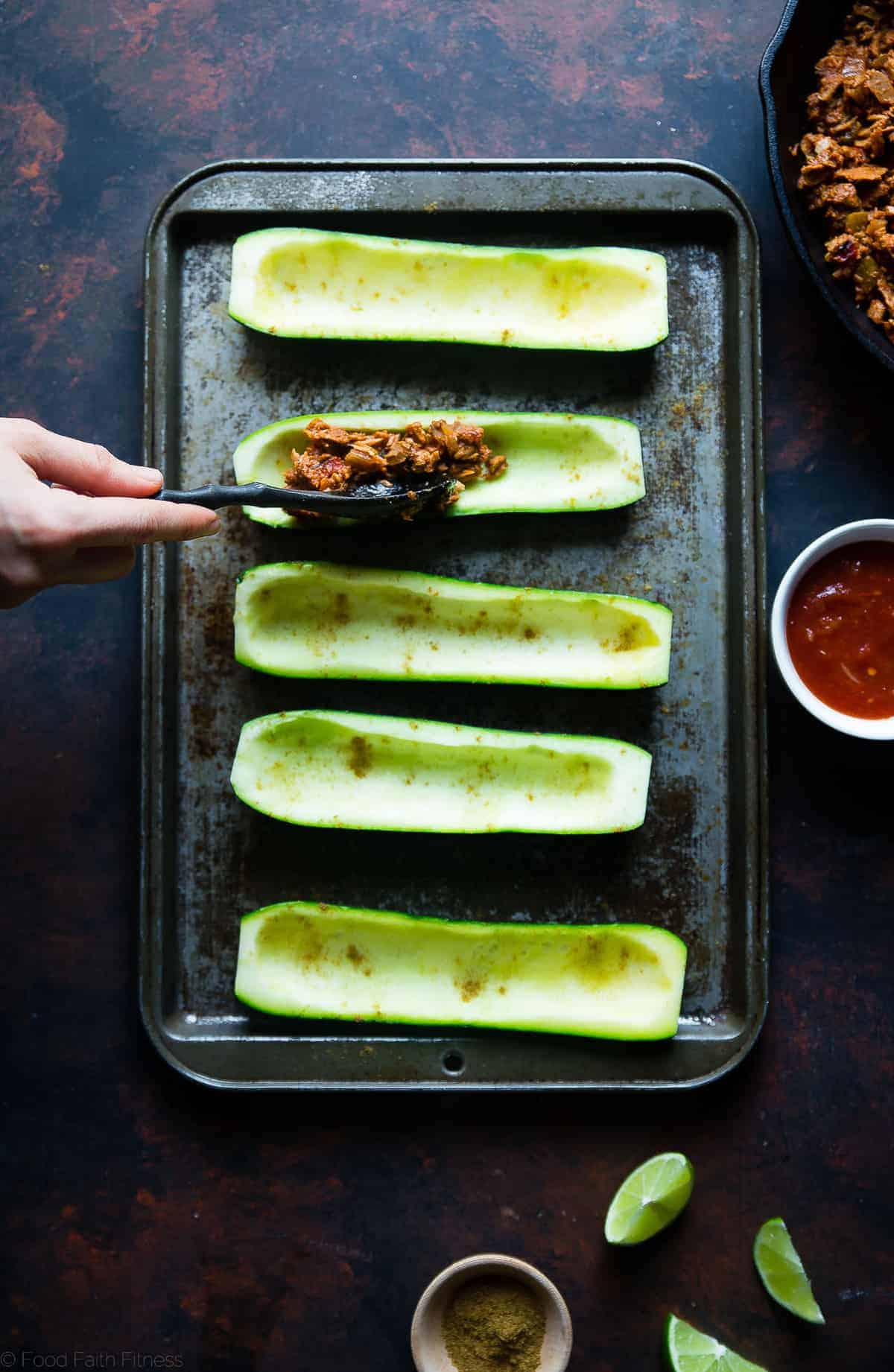 filling the zucchini with stuffing