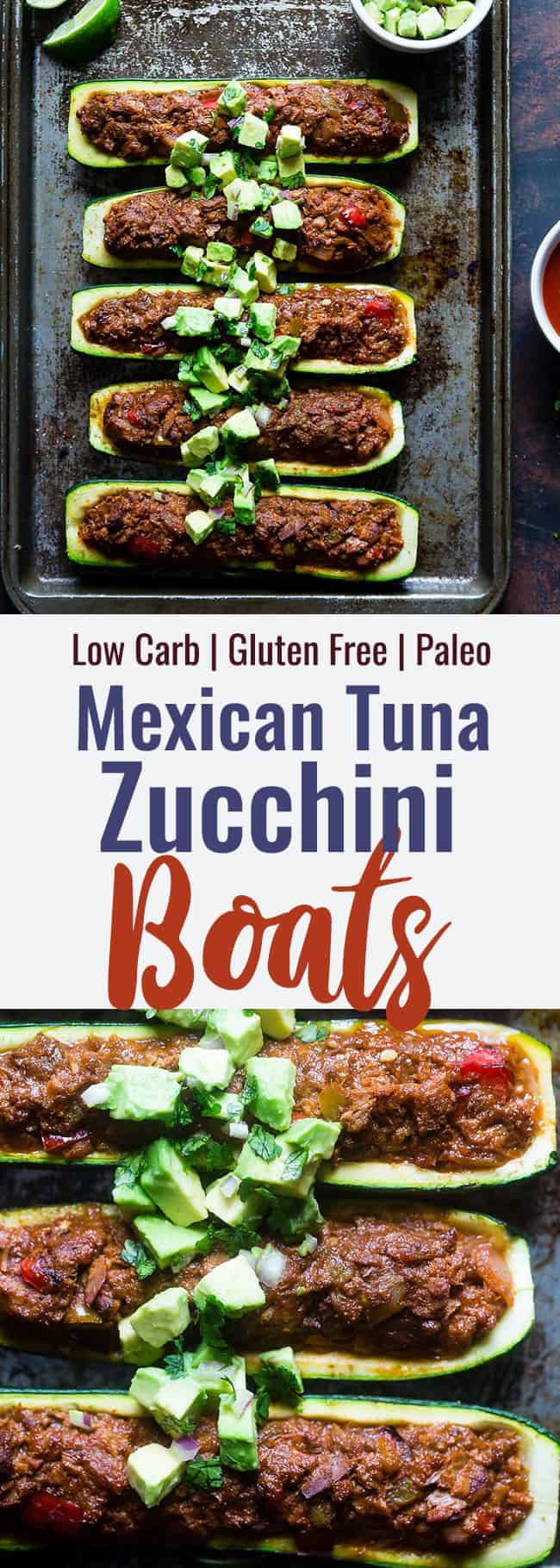 Tuna Zucchini Boats collage photo