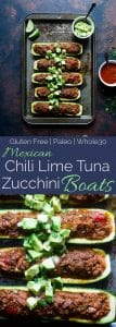 Mexican Tuna Stuffed Zucchini Boats - These quick and easy, lower carb stuffed zucchini boats are a healthy, paleo and whole30 friendly weeknight meal that are packed with protein! | Foodfaithfitness.com | @FoodFaithFit
