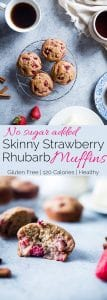 Skinny Strawberry Rhubarb Oatmeal Muffins - These healthy, gluten free muffins are naturally sweetened with dates and have no added sugar, butter or oil! They're low fat and only 125 calories too! | Foodfaithfitness.com | @FoodFaithFit