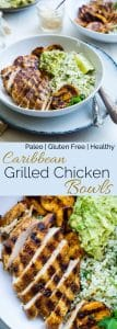 Collage image of Caribbean Chicken Bowls. Recipe on Foodfaithfitness.com