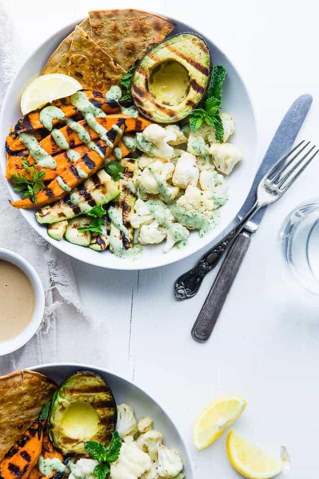 Tahini Grilled Avocado, Cauliflower and Sweet Potato Power Bowl