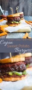 Healthy Cajun Burgers - These crowd-pleasing burgers use grilled sweet potatoes as buns instead of bread! They're a healthy gluten and dairy free summer meal for only 300 calories! | Foodfaithfitness.com | @FoodFaithFit