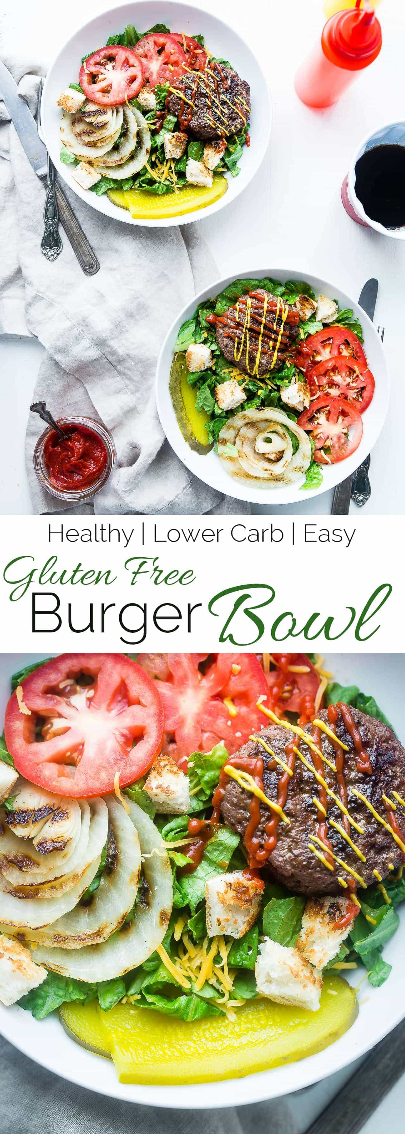 Cheeseburger Salad Bowls - These gluten free cheeseburger salad bowls are a healthy, lighter way to get your burger fix this Summer! They're a healthy meal that the whole family will love! | Foodfaithfitness.com | @FoodFaithFit