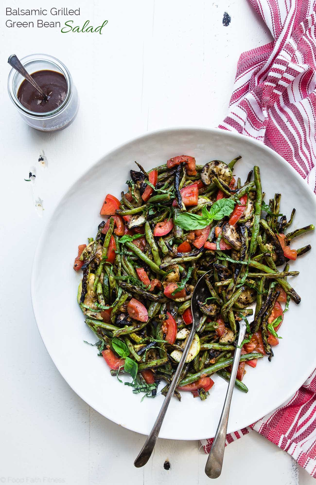 Grilled zucchini and green bean salad overhead in a bowl. Recipe on Foodfaithfitness.com