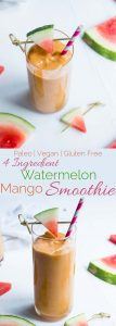 Watermelon Mango Avocado Smoothie - This healthy 4 ingredient smoothie is an easy, vegan, paleo and whole30 compliant summer breakfast or snack that is ready in 5 minutes! | Foodfaithfitness.com | @FoodFaithfit