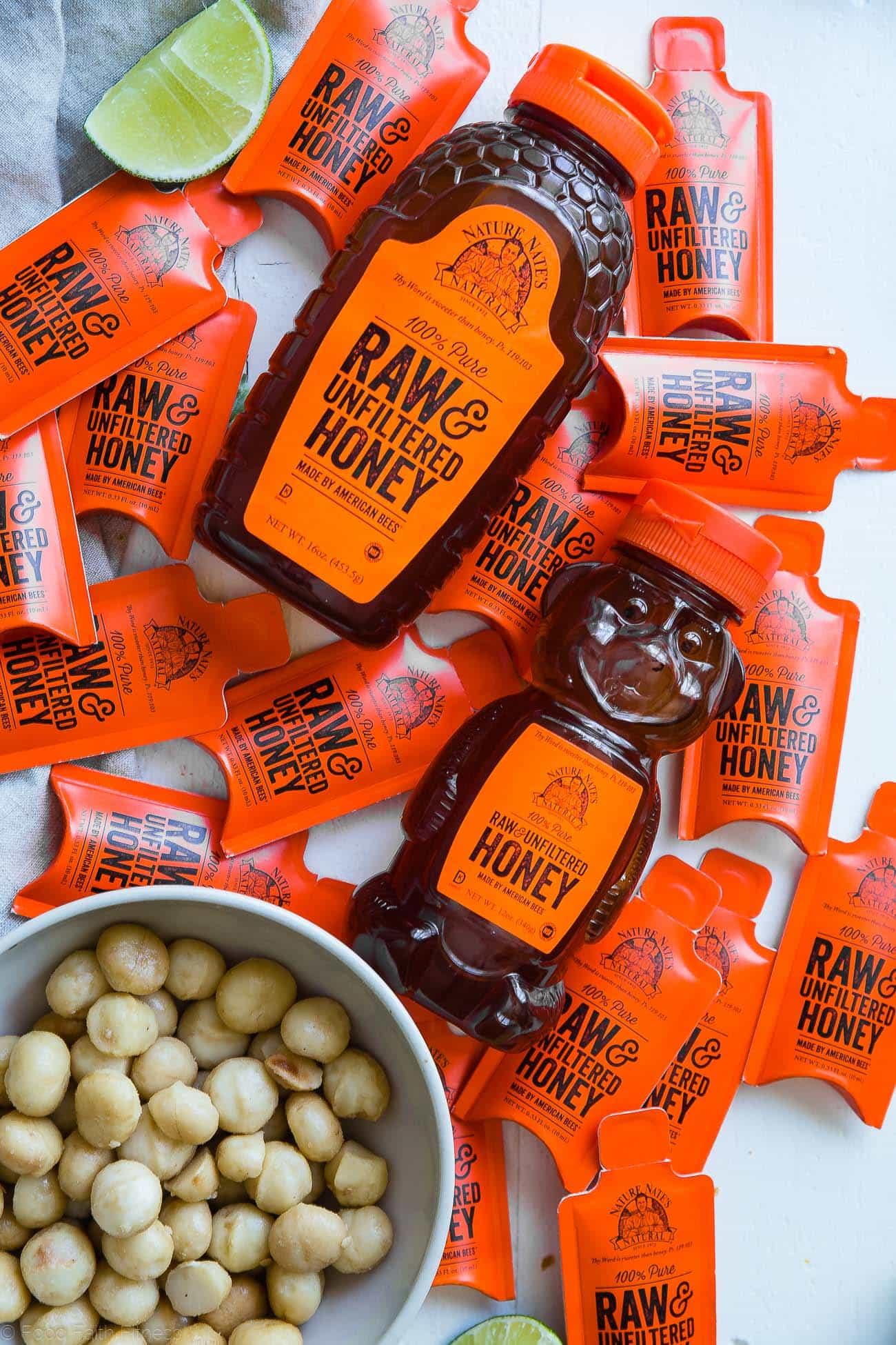 Overhead shot of tropical paleo magic cookie bars. Recipe on foodfaithfitness.com