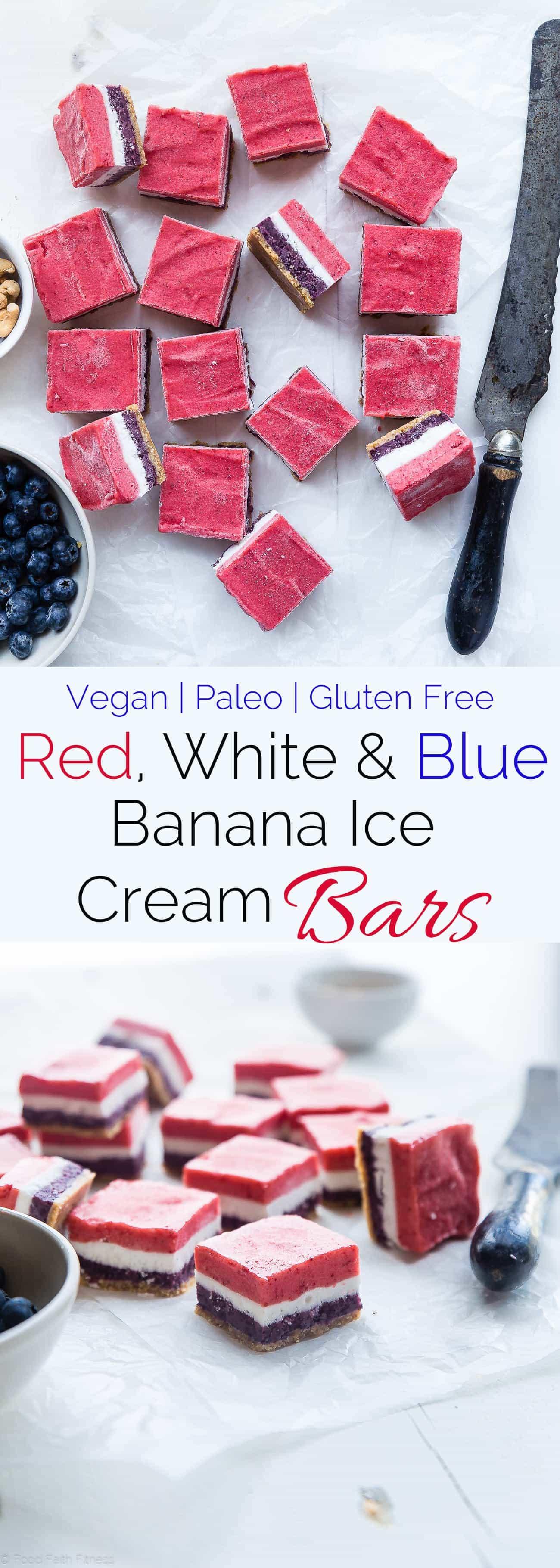 Banana ice cream bars collage image. Recipe on foodfaithfitness.com
