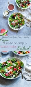 Collage image of watermelon feta salad with Cajun shrimp. Recipe on Foodfaithfitness.com