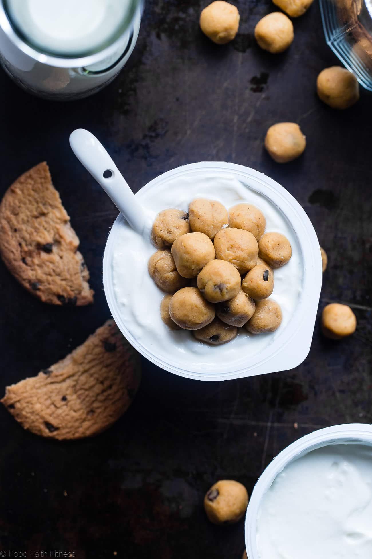 Overhead shop of cookie dough balls on yogurt cup. Recipe on Foodfaithfitness.com