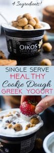 Collage image of single serve Greek yogurt cookie dough. Recipe on Foodfaithfitness.com