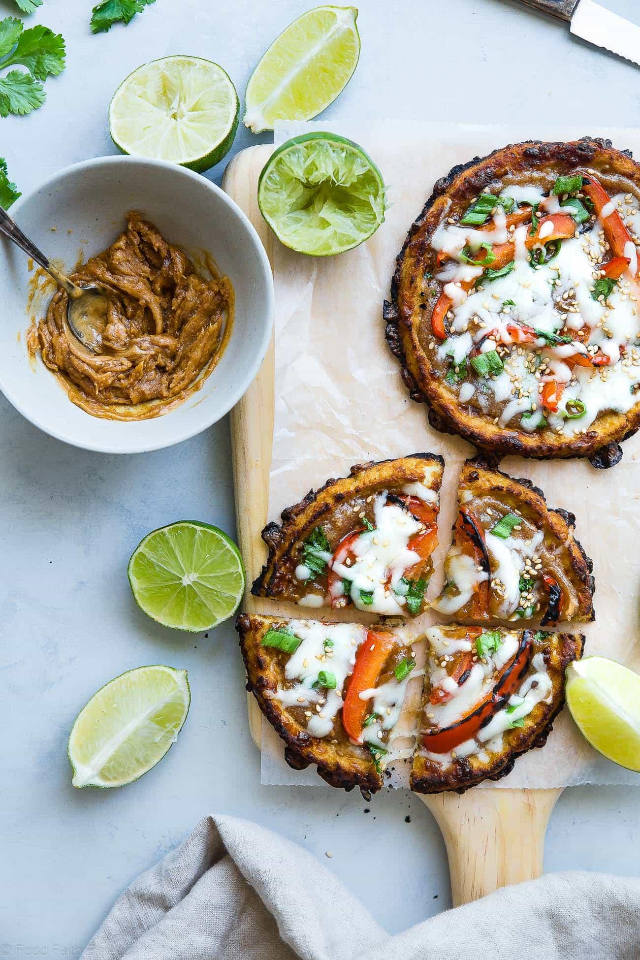 Overhead photo of Thai cauliflower pizzas. Recipe on Foodfaithfitness.com